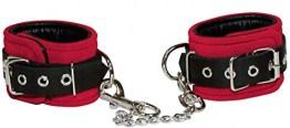 Leder Handfesseln rot schwarz