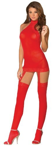 Roter Bodystocking mit Spitze