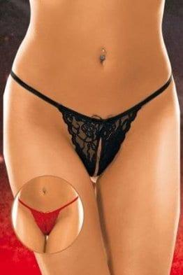 Glamour Mini String mit Spitze, schwarz